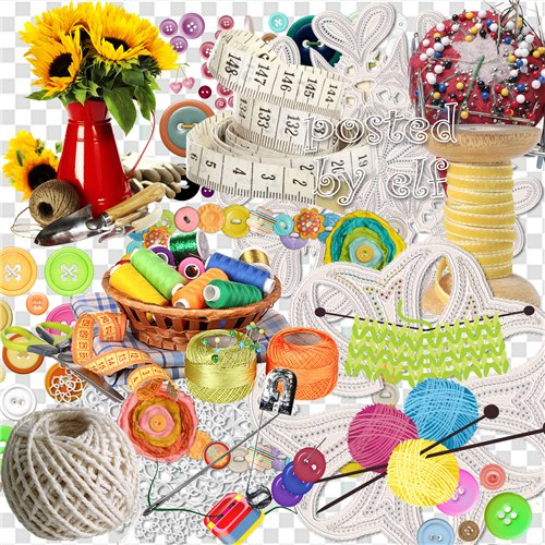 Clipart PNG images - 33 PNG Lace, pins, buttons, threads on a transparent background