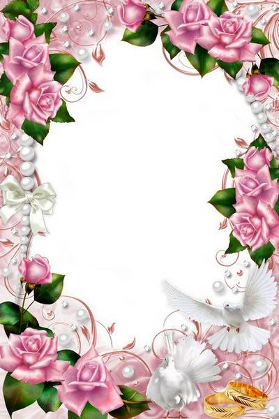 Gentle wedding frame with pigeons, pink roses and pearls
