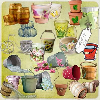 Clipart PNG Images - 135 PNG Buckets, barrels, pails, flower pots on a transparent background