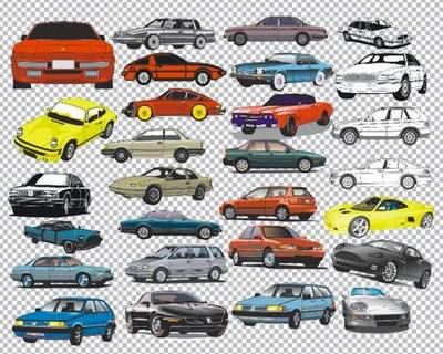 Clipart PNG Images - 89 PNG Cars hand drawn and contours on a transparent background
