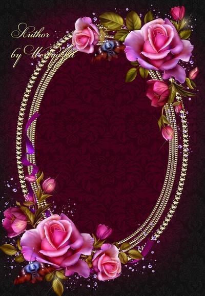 Beautiful vintage photo frame psd template with roses and butterflies