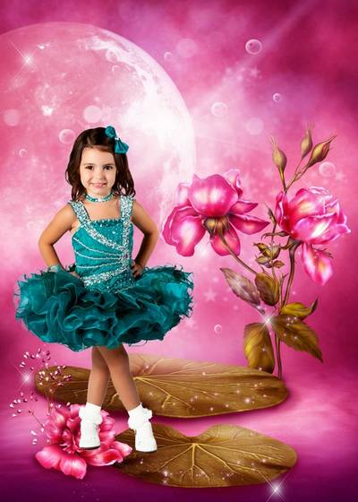 Children templates for Photoshop - Baby in a beautiful dress