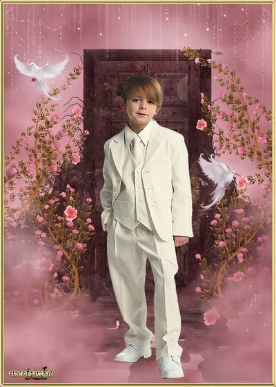 Child's psd template - Boy in an overwhites and pigeons