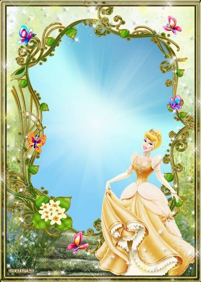 Child's psd frame - Charming princess in an elegant dress