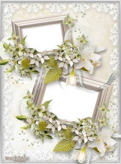Wedding frame for Photoshop - Jasmine flowers