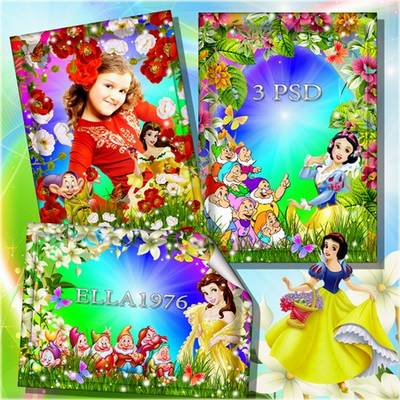 Children's colorful frames-Snow White and the intricate Dwarfs