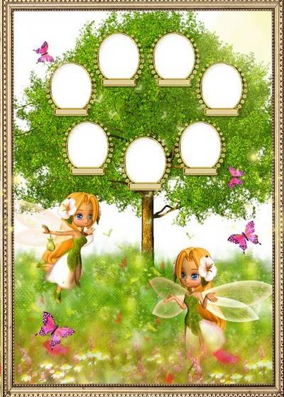Children vignette - Family tree with fairies