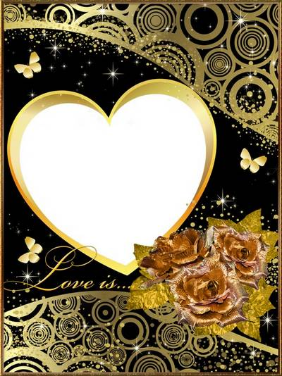 Frame for Photoshop - Gold roses, butterflies, hearts, romance, love