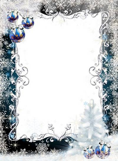 Frame for Photoshop - White fluffy Christmas tree and snowflakes