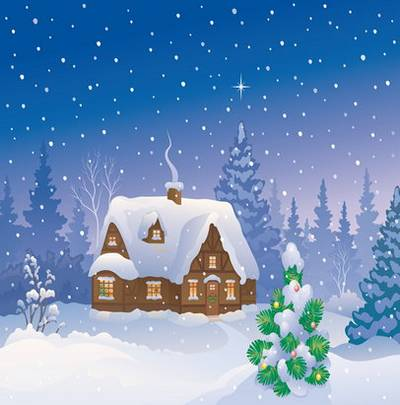 Winter backgrounds – Houses, snow, night, the moon