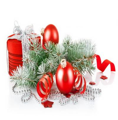 Christmas composition on a white background