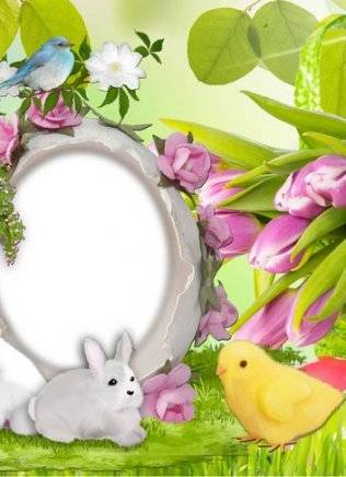 Set of children's frames for Easter - Happy Easter - the unity of joy and love