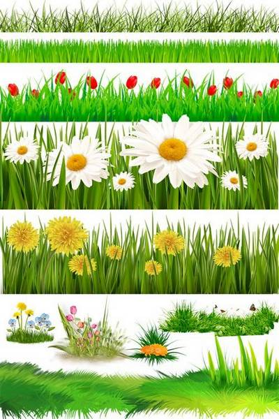 Free PSD file - Grass, lawn, flowers, layered psd (11 layers)