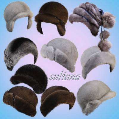 Free psd file Hat - Women winter fur hats on a transparent background