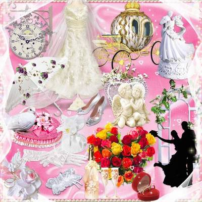 Wedding set 158 PNG images + 20 JPG : frames cutouts – 12 png, wedding background – 20 JPG,  different wedding paraphernalia – 63 png, decorative items – 83 png