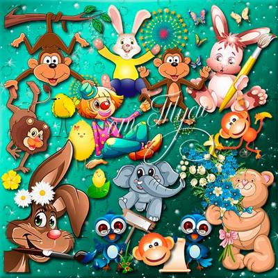 Children Toys Clip Art  - Funny animals - they are so glorious