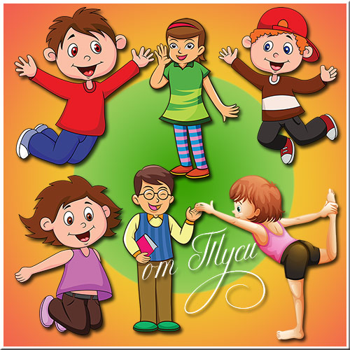 Children clipart - Children psd, painted boys and girls on a transparent background