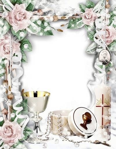 Children Frame For First Communion With The Rosariumcandle And The