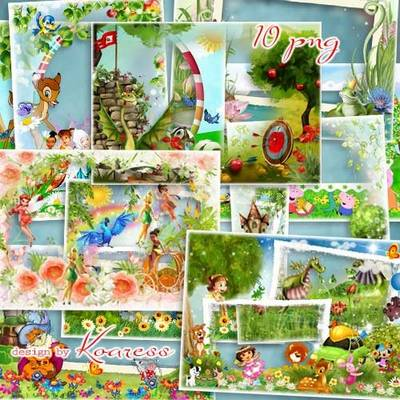 Free Set Baby photo frames with cartoon characters - Fairy tales, 10 PNG photo frames