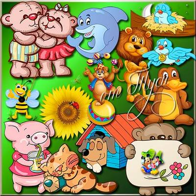 Children Toys clipart PSD - Fun live animals