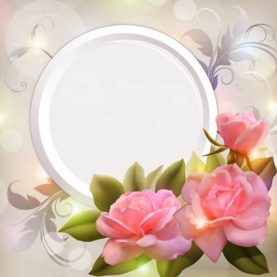Free layered Psd, photo frame card with luxury pink roses
