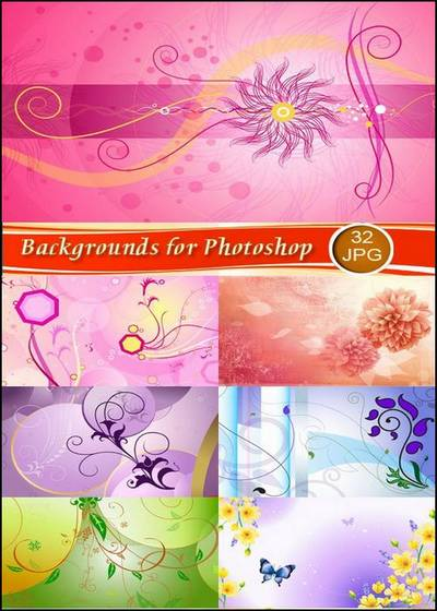 Spring flower backgrounds of Set 2