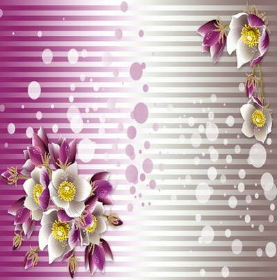 Beautiful striped backgrounds with flowers for design work