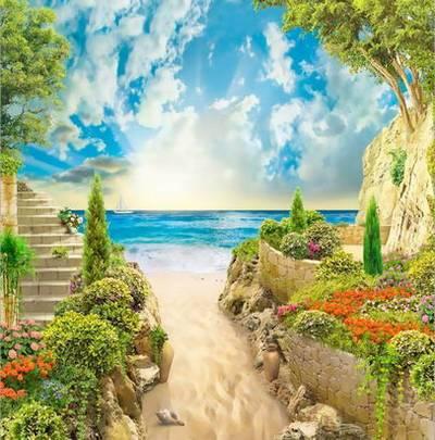 Backgrounds - Terraces and seascape, 35 JPEG, 2000x1500 px, 300 dpi