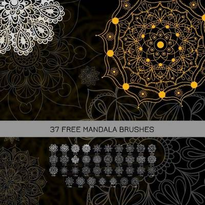 Mandala Brushes for Photoshop ABR,  37 in set, up to 2700 pix