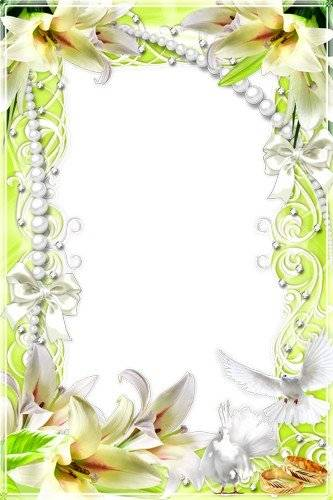 Wedding frame for a photoshop – Fine lilies aroma is so sweet