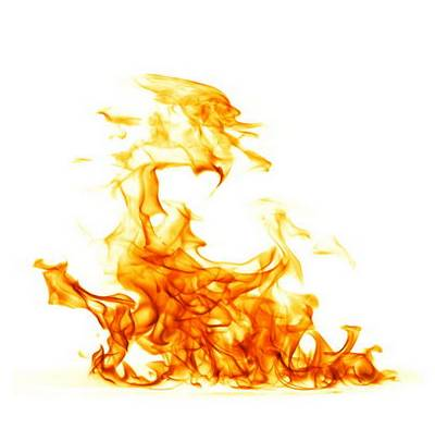 Fire on a white background