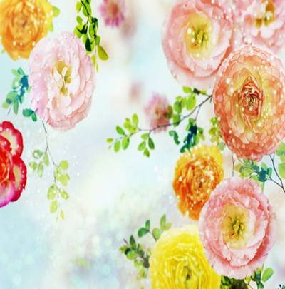 Backgrounds with flowerses and spangle diamond