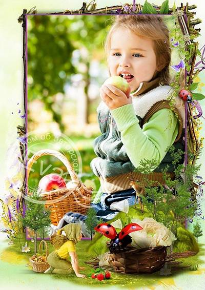 Child`s photo frame PSD +PNG - Mysterious fairy forest