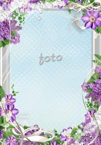 Flower - Wedding frame in lilac tones with bows and rhinestones - Delicate scent of lilacs
