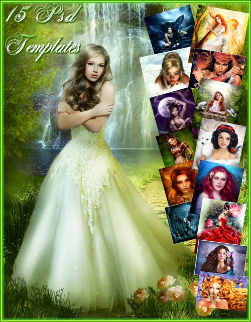 Free Female Suit psd set - 15 PSD Beautiful girls from the world of fantasy