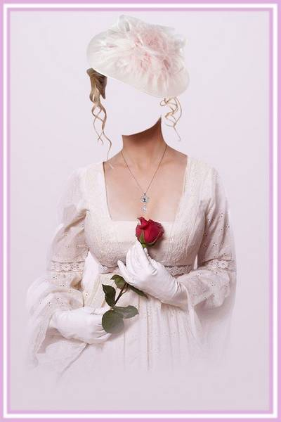 Template for Photoshop - Lady with Flower
