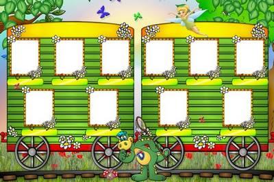 Free Baby vignette photo frame - train Dino 2