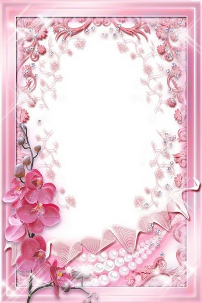 Glamour photo frame template - Pink Orchids & Pearl free download (restored)
