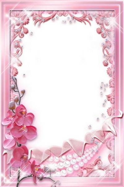 Glamour photo frame template - Pink Orchids & Pearl