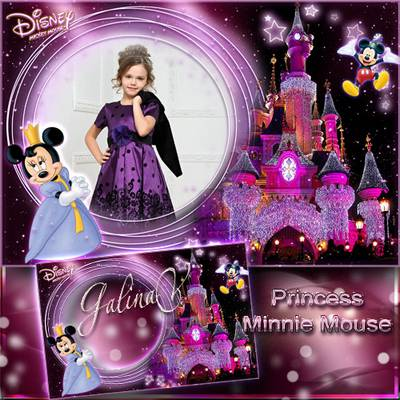 Free Baby Frame psd for Little Girls' Photo - Princess Minnie Mouse free download