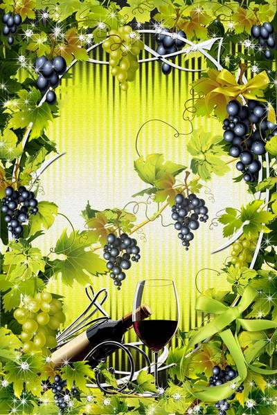 Free Frame psd - Clusters grapes in a garden, patches of light plays the sun in the morning download