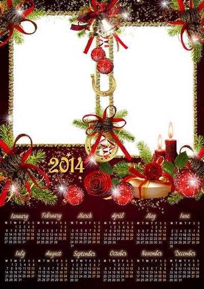 Bright new year calendar-frame for Photoshop with golden horseshoe