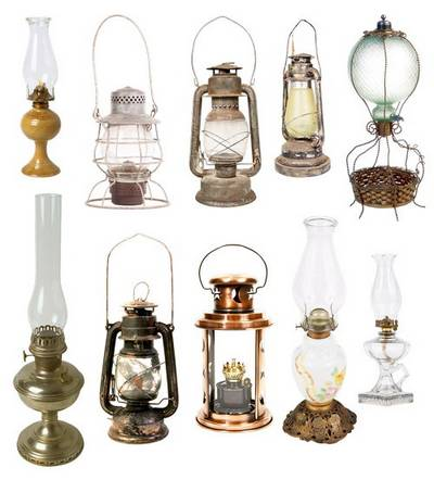Clipart for Photoshop format PNG -  lamps, old lamps, kerosene lamps, standard lamps on a transparent background