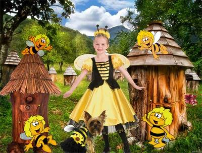 Free children suit psd template girls dance of the bees