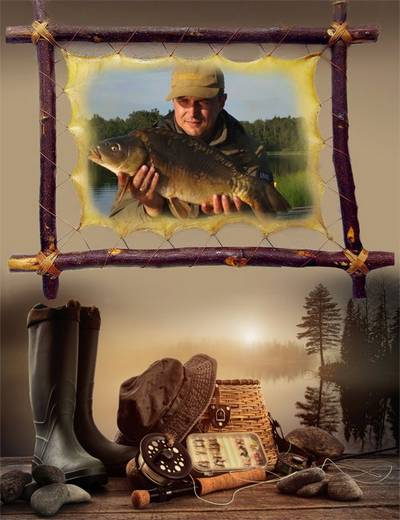 Fisherman photo frame psd free download