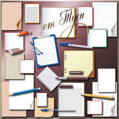 School Clipart free download - Notepad pen and exercise book