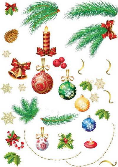 New Year clipart free download – Toys, branches, candles