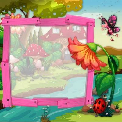 Free Baby frame psd template Fairy house free download