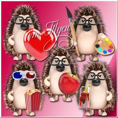 Toys Clipart free psd Funny Hedgehogs free download