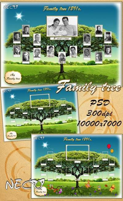 Family frame template - the Genealogical (family) tree PSD